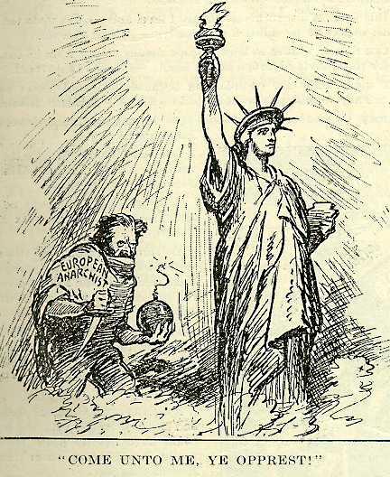 """Wikipedia: """"Kommt zu mir, ihr Unterdrückten!"""" Amerikanische Karikatur von 1919, zeigt das Klischee eines bärtigen europäischen Anarchisten mit Bombe und Dolch, der versucht die Freiheitsstatue zu sprengen."""