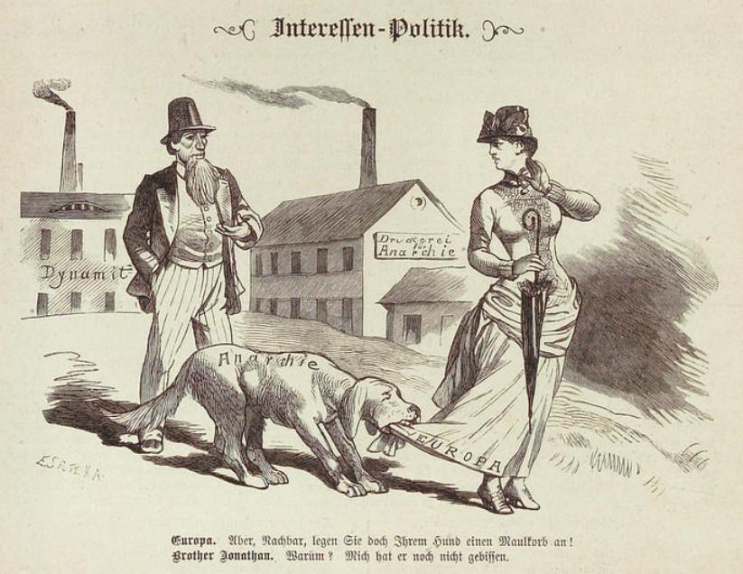 """Kladderadatsch, 1.2.1885 """"Interessenpolitik"""", CC-BY-SA Heidelberger historische Bestände – digital"""