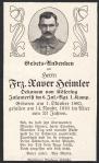 Sterbebild von Franz Xaver Heimler. 14. November 1916. Bild: Europeana 1914-1918. CC-BY-SA 3.0