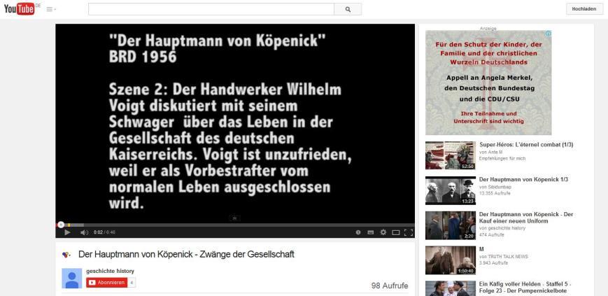 Youtube-Kanal mit Werbung